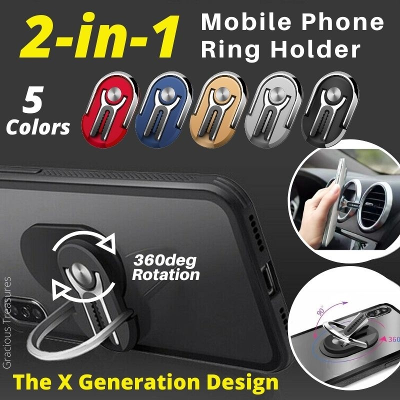 The X Generation 2-in-1 Mobile Phone Ring Holder Suitable for iPhone Xiaomi Samsung Oppo HuaWei