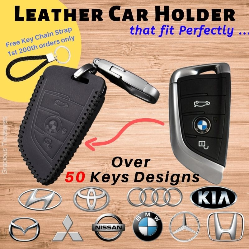Real Leather Car Key Holder with embossed detail 360 swivel clip holder