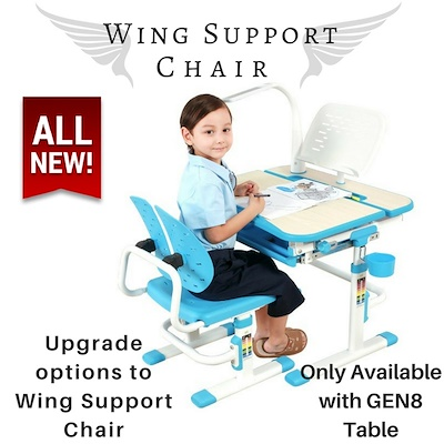 Children Ergonomics Study Table and Chair Set with Adjustable Height and Tiltable Table Top